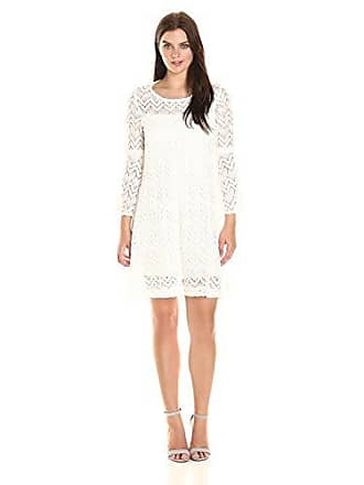 Sandra Darren Womens 1 Pc 3/4 Bell Sleeve Crochect Lace A-line Dress, Ivory, 14