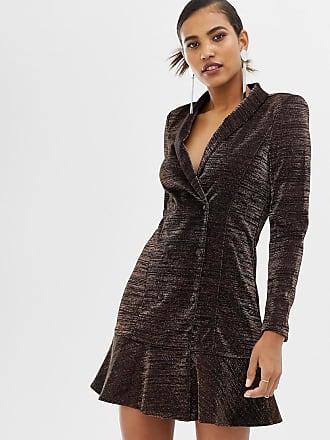 Y.A.S glittery peplum hem mini blazer dress in black - Black