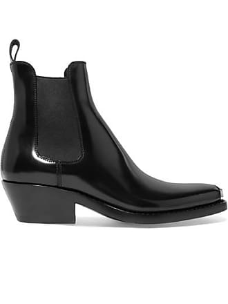 770f9d7e8b CALVIN KLEIN 205W39NYC Claire Metal-trimmed Glossed-leather Ankle Boots -  Black