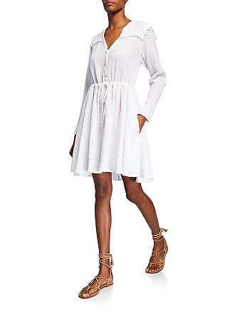 Xirena Sibyl V-Neck Long-Sleeve Drawstring-Waist Cotton Dress