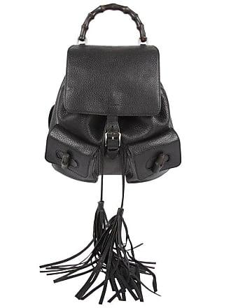 4f78686be9f Gucci Bamboo Tassel Leather Backpack - Black