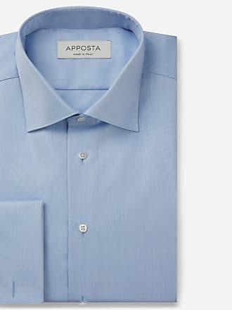 Apposta Camicia tinta unita azzurro 100% cotone wrinkle free oxford doppio ritorto, collo stile semifrancese, polso da gemelli
