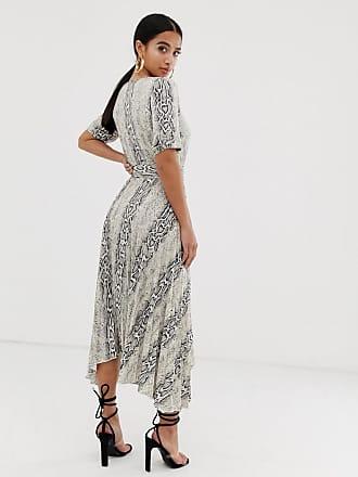 e286590ce98 Asos Petite ASOS DESIGN Petite v neck midi dress with pleated skirt and  belt in snake