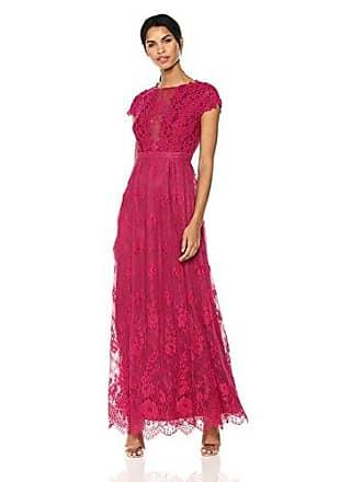 Monique Lhuillier Womens Lace Open Back Gown, Raspberry, 14
