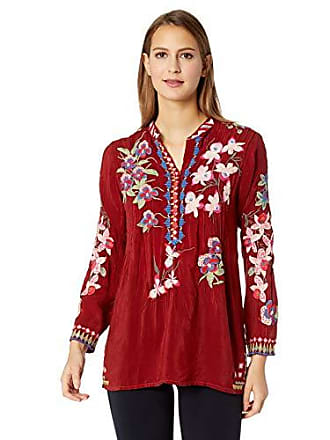 dded62a2c3295 Johnny Was Womens 3 4 Sleeve Embroidered Mandarin Collar Blouse