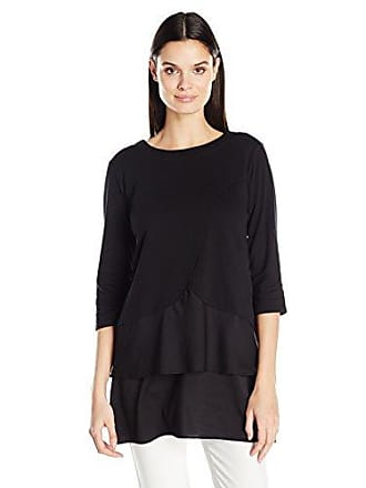 Joan Vass Womens Cotton Interlock Tunic with Woven Hem, Black S