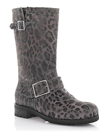3654b92d5ba Jimmy Choo London Boots calfskin suede Decorative buckle Lion print grey