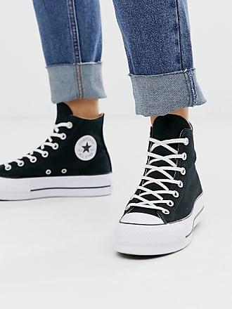 Converse Chuck Taylor - Sneakers alte nere con plateau rialzato-Nero