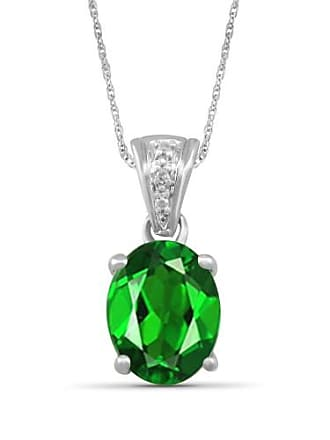 JewelersClub JewelersClub 1.55 Carat T.G.W. Chrome Diopside Gemstone and White Diamond Accent Pendant