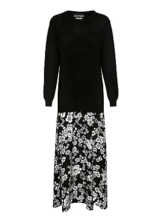 Moschino Floral Maxi Knit Dress Black/white