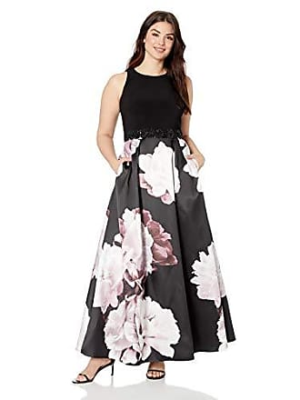 Ignite Womens Plus Size Sleeveless V-Neck Printed Ballgown Dress, Black/Magenta, 16