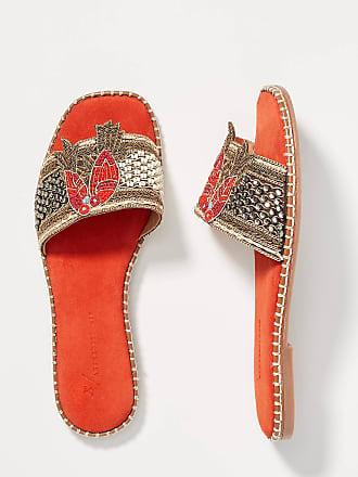 Anthropologie Bird Embellished Slide Sandals