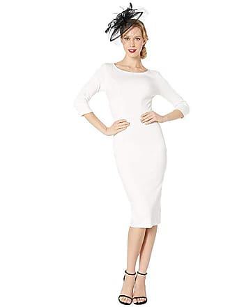 Unique Vintage 1960s Stretch Mod Wiggle Dress (Ivory) Womens Dress
