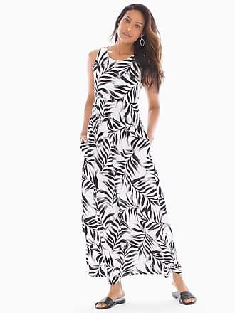 Soma Sleeveless High Neck Maxi Dress Fiji Palm Grand White, Size XXL