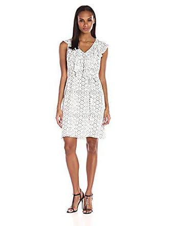 Ivanka Trump Womens Ruffle Front Georgette Dress, Ivory/Black 10