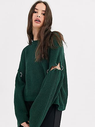 Collusion boxy jumper in khaki with hardware detail-Green