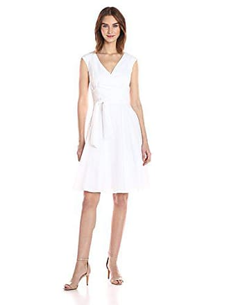 096d7603af Calvin Klein Womens Fit and Flare Dress with Ruffle Collar and Self Tie,  White,