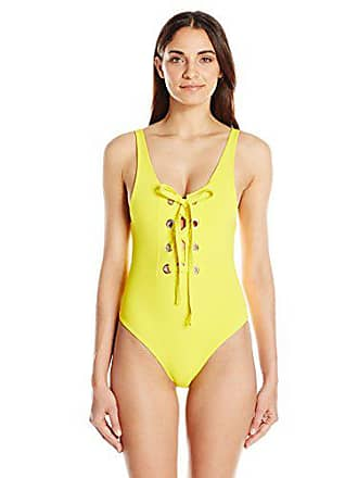 c0219d6443f Mara Hoffman Womens Desa Lace-Up One Piece Swimsuit, Yellow, Large