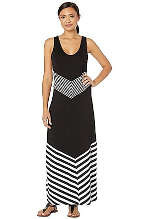 La Blanca Fine Line Tank Dress Cover-Up (Black/White) Womens Swimwear