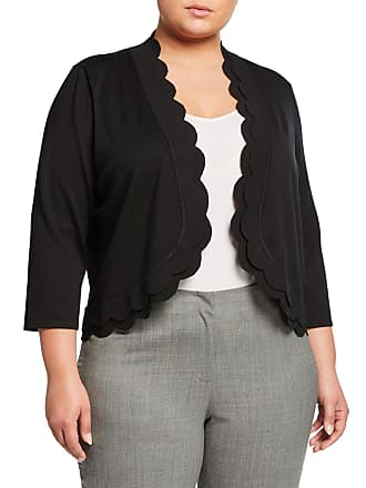 Neiman Marcus Plus Size 3/4-Sleeve Scallop Edge Shrug