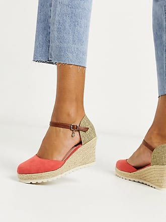 Xti Espadrilles mit Keilabsatz in Koralle-Orange