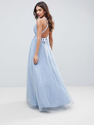 Asos Premium tulle maxi prom dress with ribbon ties - Blue