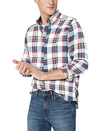 Nautica Mens Long Sleeve Classic Fit Plaid Button Down Shirt, Ensign Blue, Medium