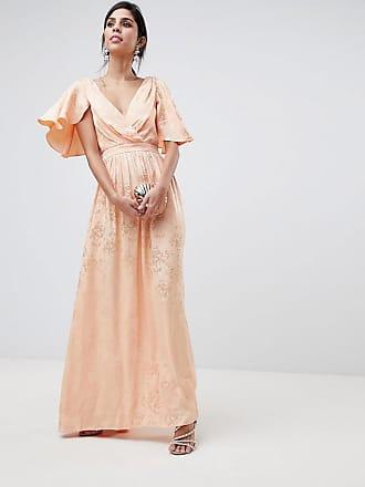 5ce13cb6b82 Asos Soft Jacquard Maxi Dress With Flutter Sleeve - Pink