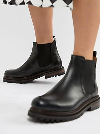 Hudson London Black Leather Chunky Chelsea Boots - Black
