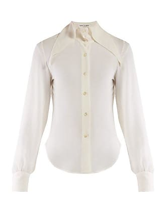 Saint Laurent Point Collar Georgette Blouse - Womens - Ivory