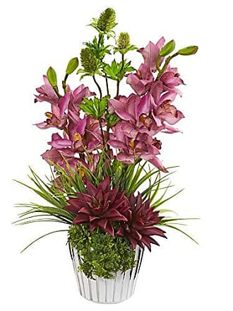 Nearly Natural 1982 Cymbidium Orchid, Agave and Thistle Artificial Silk Arrangements Pink