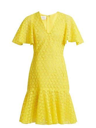 Giambattista Valli V Neck Floral Macramé Lace Cotton Blend Dress - Womens - Yellow