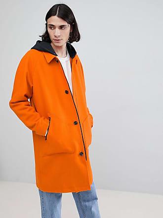 Asos Gabardina de mezcla de lana con capucha de punto en naranja de ASOS  DESIGN e802afac0e3