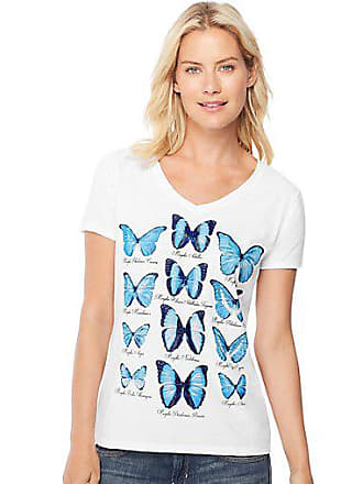 Hanes Womens Butterfly Collection Short-Sleeve V-Neck Graphic Tee Collection/White 2XL