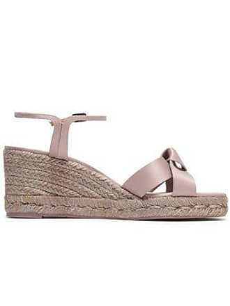 a05dbb769 Castaner Castañer Woman Becca Knotted Satin Espadrille Wedge Sandals Taupe  Size 39
