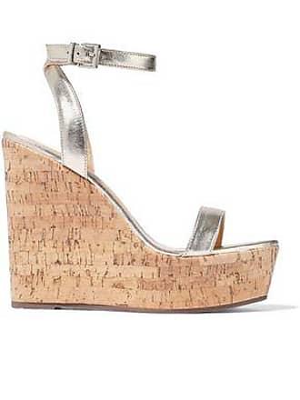 Schutz Schutz Woman Eduarda Metallic Leather Wedge Sandals Gold Size 9.5