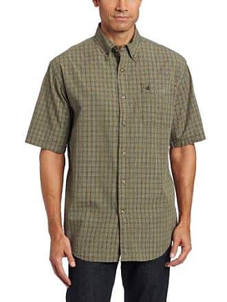Carhartt Work in Progress Mens Bellevue Plaid Sheeting Short Sleeve Shirt Button Front,Olive (Closeout),Medium