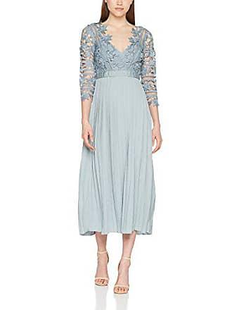 1fefb612c9c1 Little Mistress Cornflower Crochet Lace Dress with Pleats Vestito Elegante  Donna