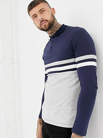 1f5cd8e2b Asos long sleeve polo shirt with contrast body and sleeve panels in navy/gray  -