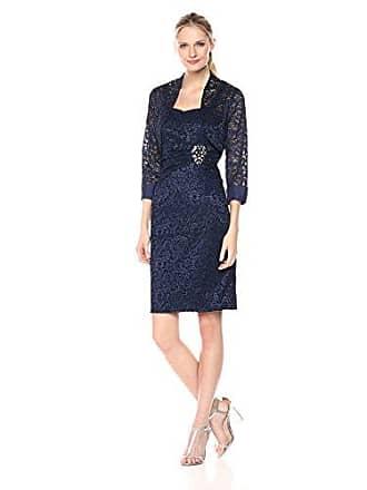 Jessica Howard Womens Lace Bolero Jacket Dress, Navy, 10