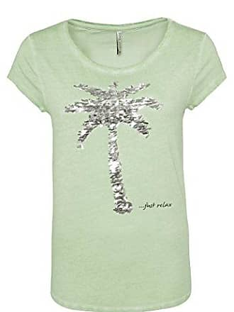 786096d0e05638 Fresh Made Damen T-Shirt mit Pailletten-Palme