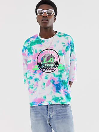 0130e5d869 Asos T-shirt oversize corta tie-dye con stampa grande sul petto - Bianco