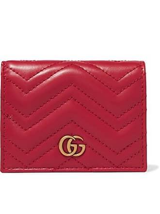 d87cbd9e736 Gucci Portefeuille En Cuir Matelassé Gg Marmont Small - Rouge