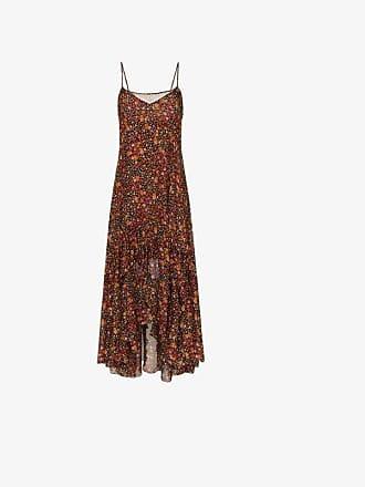 Faith Connexion Ruffle Hem Floral Print Silk Maxi Dress