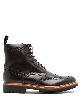 Grenson Fred Leather Brogue Boots - Mens - Black 466cdc5121