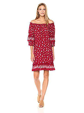 Max Studio Womens Smocked Off The Shoulder Layered Sleeve Dress, red Wallpaper Roses, Medium