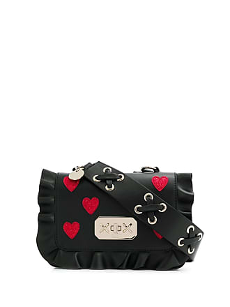 Red Valentino RED(V) ruffle-trimmed heart cross-body bag - Preto
