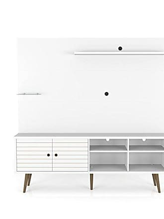 Manhattan Comfort 214BMC6 Liberty Complete Living Room Entertainment Center and TV Stand, White