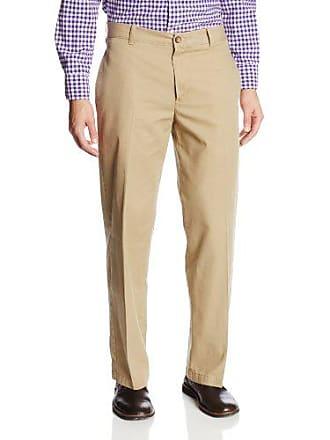 Izod Mens Saltwater Flat Front Classic Fit Chino Pant, Cedar Wood Khaki, 42W x 30L
