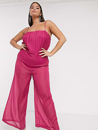 Unique21 Hero Unique 21 - Schimmernder Body-Jumpsuit in Himbeere mit transparenter Hose-Rosa